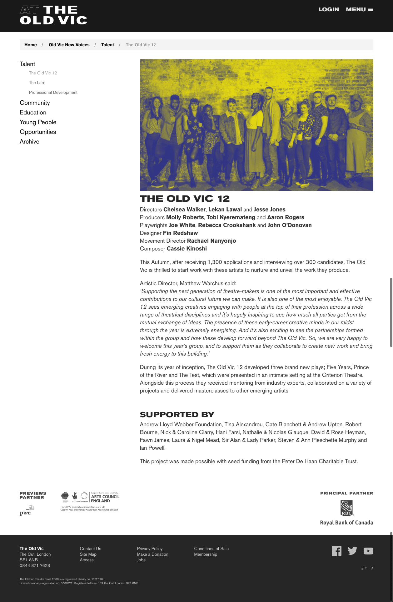The Old Vic 12 press release